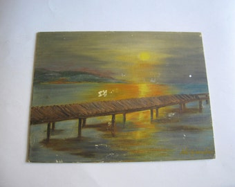 vintage original acrylic painting, Greek seascape, signed