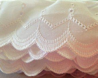 White Cotton Cambric Lace - 75mm