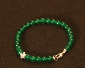 Jade green and silver bracelet solid 925