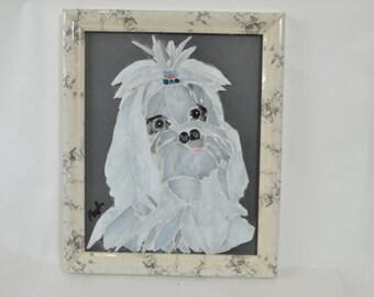 Mosaic glass dog
