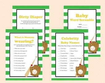 Baseball Baby Shower Games, Printable Baseball Theme Baby Shower Game Printables, All Stars, baseball theme, Sports Baby Shower Games TLC07