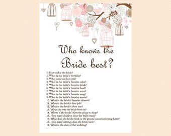 Who knows the Bride Best, Who knows the Groom best, How well do you know the couple, Bridal Shower Game Printables, Wedding Shower BS42