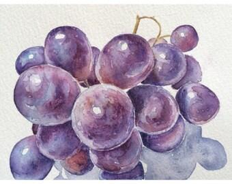Original watercolor still life painting of grapes,original watercolor art,purple kitchen decor,kitchen art,fruit art