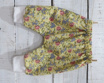 Heaven Sent handmade baby girl harem pant yellow floral