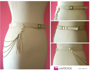 Leather Belt 'ERIKA WHITE'