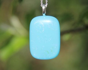 Turquoise blue glass pendant with subtle dichroic pattern ,  dichroic glass necklace