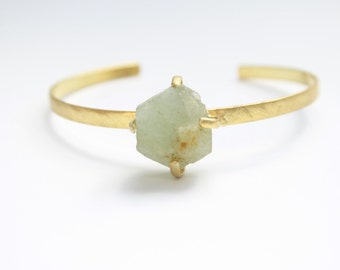 bronze bracelet and gold with aquamarine