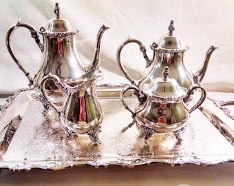 Wilcox American Rose Silverplate 5-piece Tea Service