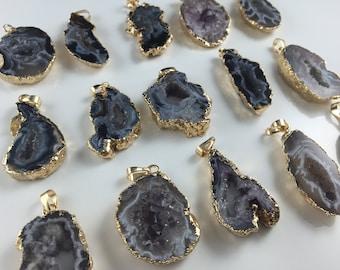 Wholesale Agate Druzy Pendant Agate Slice druzy Geode Pendant agate drusy pendant 24K gold agate pendant 1piece