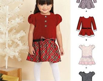 Simplicity Pattern 1262 . Toddlers' Dresses. Size 1/2-4