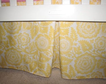 Yellow Blossom Crib Skirt with Pleat