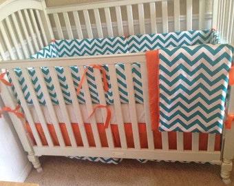 Turquoise Chevron and Orange Baby Bedding Set