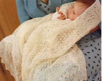 1 ply cobweb lace baby shawl knitting Pattern  PDF- very fine shawl