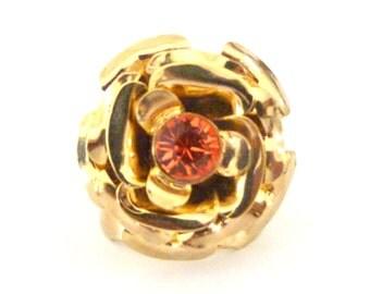 Gold flower ring swarovski crystal stone