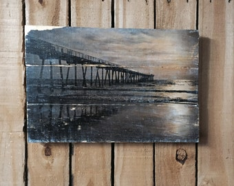Beach Decor - Pier Photo on Wood - California - Sunset - 11x17 - Wood Wall Art - Handmade Wood Sign - Home Decor