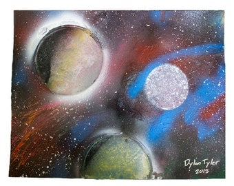 Cosmic Triangle - 11x14 Planetary Spray Paint Artwork