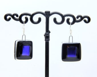 Dichroic Glass Fusing blue earrings