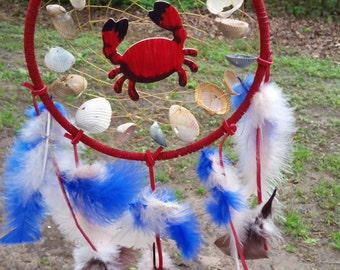 crab and seashell dream catcher 7 inch