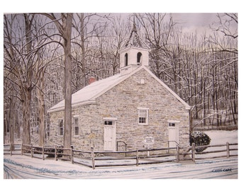 Eyler's Valley Chapel - Winter Church Landscape, Art Print, Watercolor Painting, Church wall art, Christmas gift ideas