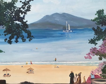 "Original oil painting, fine art impasto impressionism, ""Just a Breeze"""