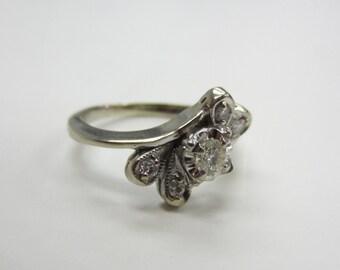 Vintage 14k White Gold Ring with 15pt Diamond Center, .23TDW - Ladies, Size 4 3/4