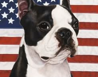 Boston Terrier Patriotic TBII Flag 28 X 40 Inches