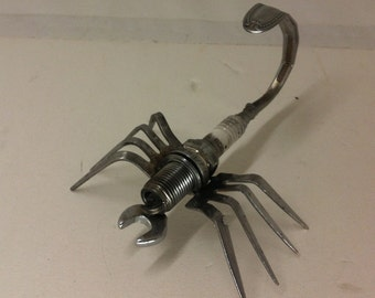 Recycled Spark Plug and Cutlery Scorpion Metal Sculpture