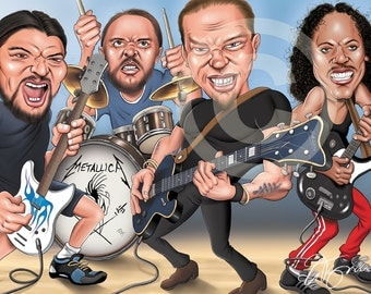 METALLICA caricature - artwork print signed by artist - 100 print edition - A3 size