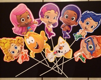 Bubble guppies birthday party centerpieces/table decoration/buckets. Options for One sided or double sided are available