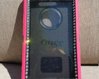 iPhone 7, 7 PLUS OtterBox defender bling Swarvoski Crystals pink pretty sparkly fashionable diamond jewels cell phone case