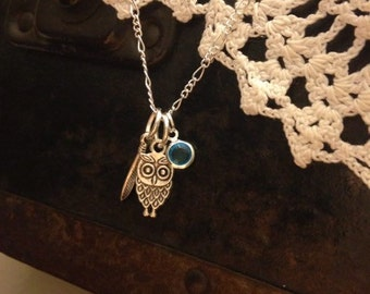 Feather and Owl Necklace with Birthstone
