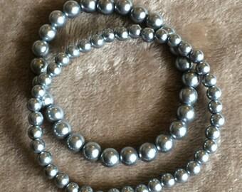 Charcoal Glass Pearl Bracelet