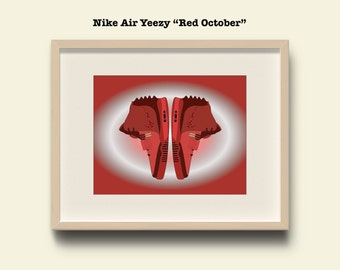 """Nike Air Yeezy """"Red October"""" - Poster"""