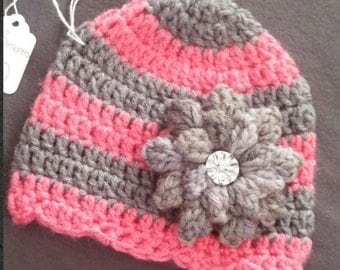 Pink and Gray Striped Hat With Flower