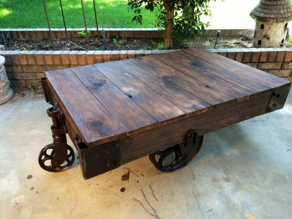 Items Similar To Vintage Railroad Cart Coffee Table On Etsy