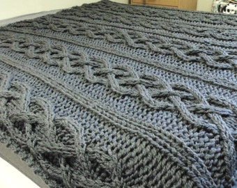 Mega chunky cable knit bed cover / blanket / throw / baby car seat blanket