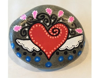 Heart Angel Painted Rock