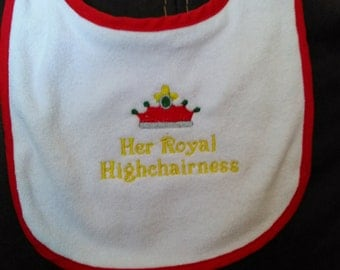 Adorable bib for the princess in your life.
