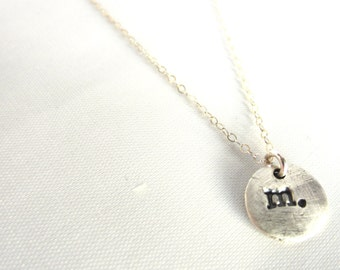 Single Initial Necklace Fine Silver Hand Stamped