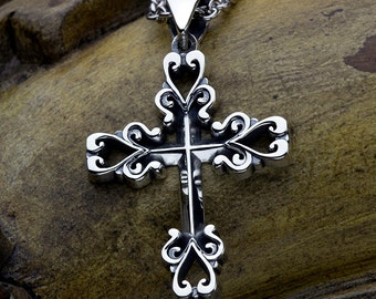 Sterling Silver Heart End Christian Cross Necklace Pendant