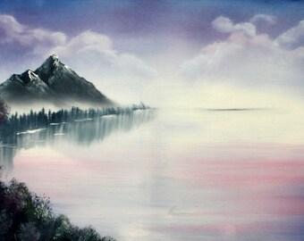 Seaday - purple landscape painting - violet landscape painting - water painting - mountain water painting - original painting - violet art