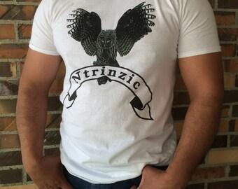 Basic Ntrinzic Apparel White T-Shirt with  Black Ntrinzic Owl Logo