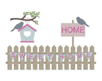 Garden Scene - Sweet Home - machine embroidery design
