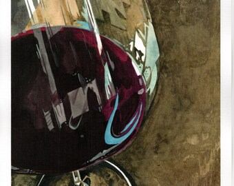 Original watercolor painting of wine glass.
