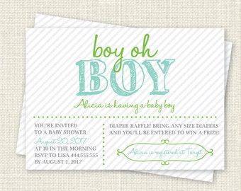 boy oh Boy Baby Shower Invitation, Digital Printable File