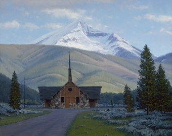 Soldier's Chapel in Big Sky, Montana - Limited Edition Lithograph Print