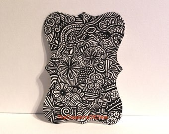 Original ACEO card - Doodle Drawing - Modern Abstract Art - Pen and Ink. Made on Hand Cut, Shaped Paper.