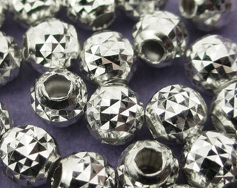 New 4mm 925 Sterling Silver Faceted Round Spacer Bead 10pcs