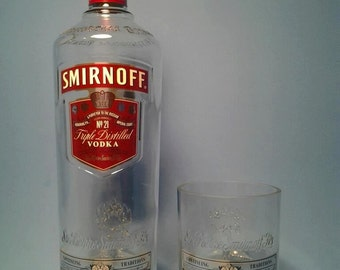 Smirnoff ® Short Recycled Glass ( Set of 4 ) Liquor Bottle Tumblers