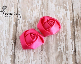 """1.5"""" Hot Pink Satin Rolled Rosette - Set of 2 Hot Pink Satin Rosettes - Mini Rolled Rosettes - Wholesale Flowers - Boutique Hair Supplies"""